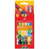 Giz de Cera Bicolor 12 Cores e Apontador Faber Castell