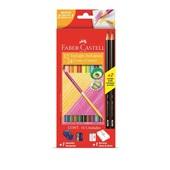 Lápis de Cor Triangular Bicolor 24 Cores e 2 Lápis Preto Faber Castell