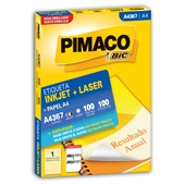 Etiqueta Adesiva InkJet e Laser A4 288,5x200mm Branco A4367 100 Folhas 100 Etiquetas Pimaco
