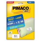 Etiqueta Adesiva InkJet e Laser A4 38,1x63,5mm Branco A4260 CX  525 UN Pimaco