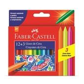 Giz de Cera 12 Cores e 3 Neon Faber Castell