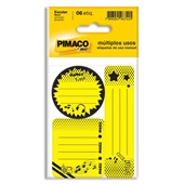 Etiqueta Escolar Neon Amarelo PT 6 UN Pimaco