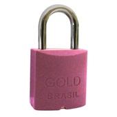 Cadeado Color com 2 Chaves 20mm Rosa 1 UN Gold