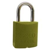 Cadeado Color com 2 Chaves 25mm Amarelo 1 UN Gold