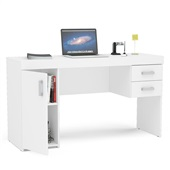 Mesa Escrivaninha Miranda com 2 Gavetas Branca 75,5x135x46,5cm 1 UN Politorno