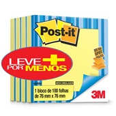 Bloco Adesivo 100 Folhas 76x76mm Amarelo Leve 4 Pague 3 Post-it