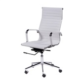 Cadeira Giratória Charles Eames em PU Alta Branca OR Design