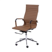 Cadeira Giratória Charles Eames em PU Alta Caramelo OR Design