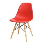 Cadeira Eames em Polipropileno Base Madeira Vermelha OR Design