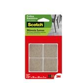 Protetor Adesivo Feltro Sintético Scotch Quadrado Marrom Grande PT 4 UN 3M