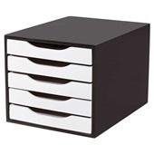 Gaveteiro em MDF com 5 Gavetas Black Piano e Branco 36x27x24cm 1 UN Souza