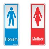 Placa de Alumínio Sanitário Plus Masculino e Feminino Sinalize