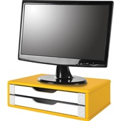 Suporte de Mesa para Monitor 2 Gavetas MDF Amarelo e Branco 1 UN Souza