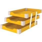 Caixa de Correspondência Tripla Madeira Amarela 1 UN Souza