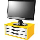 Suporte de Mesa para Monitor 3 Gavetas MDF Amarelo e Branco 1 UN Souza