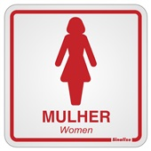 Placa de Alumínio Sanitário Feminino Vermelho Sinalize