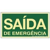 Placa de Sinalização Saída de Emergência Fotoluminescente Sinalize