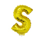 Balão Letra S com Vareta Nº16 Ouro 1 UN Funny Fashion