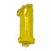 Balão Número 1 com Vareta Nº16 Ouro 1 UN Funny Fashion