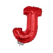 Balão Letra J com Vareta Nº16 Vermelho 1 UN Funny Fashion