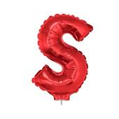 Balão Letra S com Vareta Nº16 Vermelho 1 UN Funny Fashion