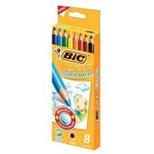 Lápis de Cor Triangular Super Macio 8 Cores e Apontador Bic