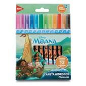Caneta Hidrográfica Colorir Moana 12 Cores Tris