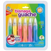Tinta Guache Bisnaga 6 Cores Tris
