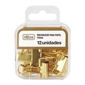 Prendedor de Papel Dourado 19mm 12 UN Tilibra