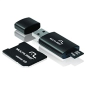 Pen Drive Adaptador e Cartão Micro SD 16GB Preto MC121 Multilaser