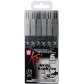 Pincel Artistico Koi Coloring Brush 6 Tons de Cinza Sakura