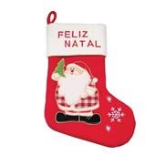 Bota Feliz Natal Branca e Vermelha 40cm 1713801 CX 1 UN Cromus