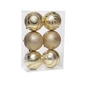 Conjunto de Bolas Glitter Dourado 8cm 1712641 JG 6 UN Cromus