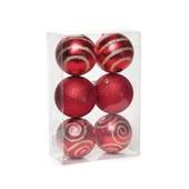 Conjunto de Bolas Glitter Vermelho e Dourado 8cm 1712642 JG 6 UN Cromus