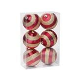 Conjunto de Bolas Glitter Vermelho e Dourado 8cm 1712662 JG 6 UN Cromus