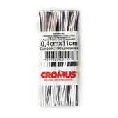 Fecho Prático Prata 4mm x 11cm PT 100 UN Cromus