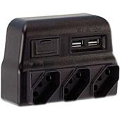 Pino Multiplicador 3 Tomadas 2 Entradas USB Bivolt Preto 1 UN Force Line