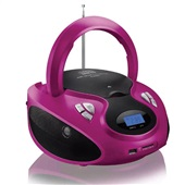 Caixa de Som 20W Boombox com Rádio FM CD Player USB Rosa Multilaser