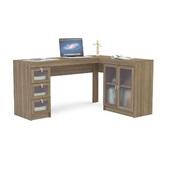 Mesa Escrivaninha Espanha com 3 Gavetas de Vidro Castanho 75,5x116,5x37,5cm 1 UN Politorno