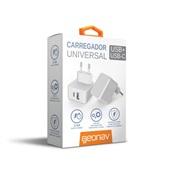 Carregador de Tomada Universal com Saída USB e USB-C 3.4A Branco 1 UN Geonav