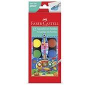 Tinta Aquarela Escolar Pastilha com Pincel e Estojo 12 Cores Faber Castell