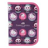 Estojo Completo Caveirinhas Rosa com 18 Itens Faber Castell