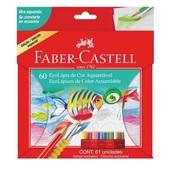 Lápis de Cor Aquarelável 60 Cores com 1 Estojo e 1 Pincel Faber Castell