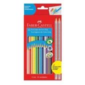 Lápis de Cor Triangular Grip 12 Cores e 2 Lápis Preto Faber Castell