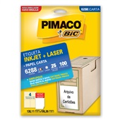 Etiqueta Adesiva InkJet e Laser Carta 138,11x106,36mm Branco 6288 CX 100 UN Pimaco