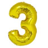 Balão Número 3 com Vareta Nº16 Ouro 1 UN Funny Fashion