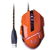Mouse Gamer Warrior 3200 Dpi USB Laranja MO263 1 UN Multilaser
