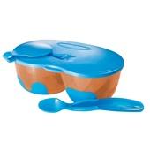 Prato Fundo com Divisória e Colher Funny Meal Azul BB053 1 UN Multikids Baby