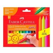 Gizão de Cera Jumbo Resistente a Quebra 12 Cores 3 Neon Faber Castell