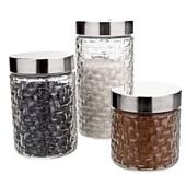 Conjunto de Potes de Vidro Tampa Inox Rattan 3 Peças 1 UN Euro